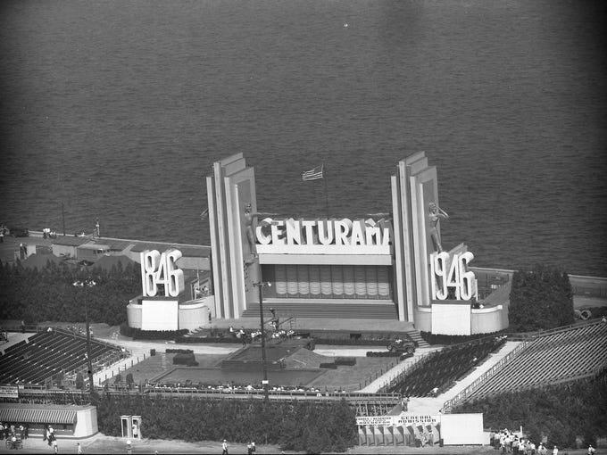 Built for about $75,000, the Centurama Amphitheater was the centerpiece of Milwaukee's centennial celebration at the lakefront in the summer of 1946.
