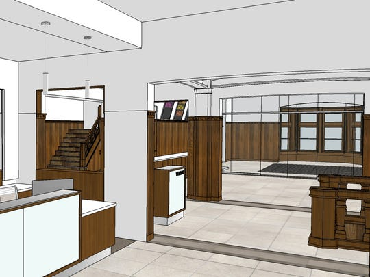 An architect's rendering of the planned front desk in a remodeled downtown Green Bay YMCA.