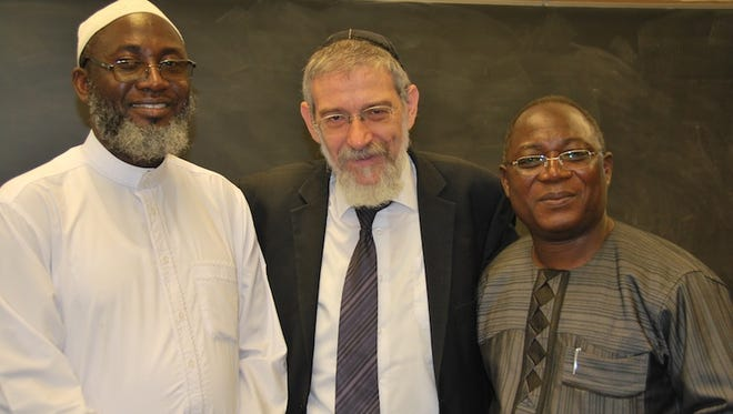 Imam Muhammad Ashafa (l) from Nigeria, Rabbi Michael Melchoir, former Israeli Member of Knesset and Minister of Social and Diaspora Affairs and Pastor James Wuye, also from Nigeria, participating in the first Drew Institute.