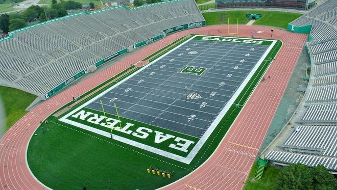This undated photo released by Eastern Michigan University shows an aerial view of the new gray FieldTurf at Rynearson Stadium in Ypsilanti, Mich. The school has replaced the stadium's green artificial turf with gray FieldTurf.