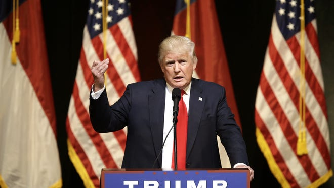 Republican presidential candidate Donald Trump speaks at a rally Tuesday in Raleigh, N.C.