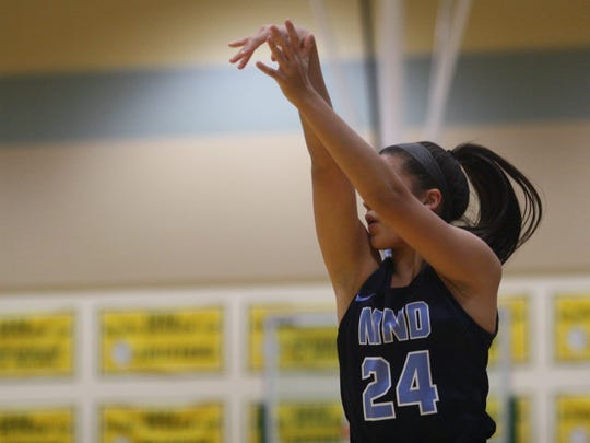 Mount Notre Dame guard Gabbie Marshall nails a 3-pointer at Ursuline Academy on Dec. 12, 2017.