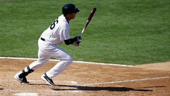 New York Yankees Cito Culver hits a single in the sixth