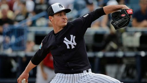New York Yankees relief pitcher Nick Rumbelow during a spring training baseball game against the Boston Red Sox Saturday, March 5, 2016, in Tampa, Fla.