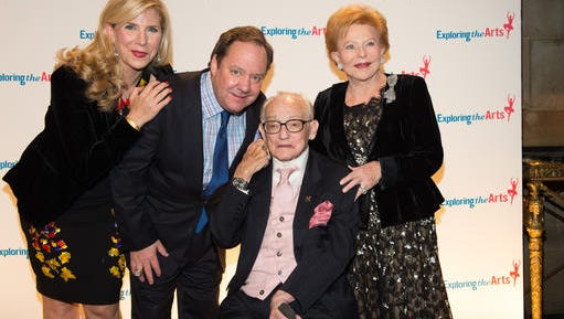 Margo MacNabb Nederlander, from left, James L. Nederlander, James M. Nederlander and Charlene Nederlander attend the 8th annual Exploring the Arts Gala benefit in New York in September 2014.