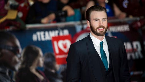 """FILE - In this April 26, 2016, file photo, actor Chris Evans poses for photographers upon arrival at the premiere of the film 'Captain America Civil War' in London. Evans told USA Today for a story published on April 3, 2017, that ex-girlfriend Jenny Slate is """"an incredible human being,"""""""