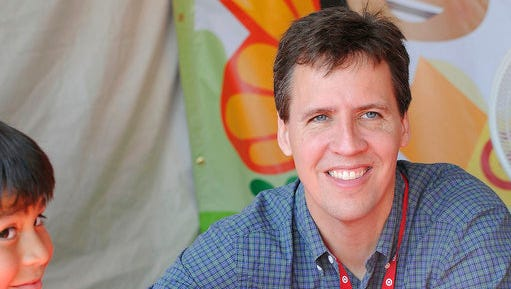 FILE - This April 21, 2012 file photo shows Jeff Kinney at the LA Times Festival of Books in Los Angeles. The first 11 novels have sold more than 180 million copies and the series has been the basis for four movies.
