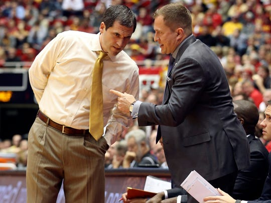 Iowa State Cyclones head coach Steve Prohm and assistant