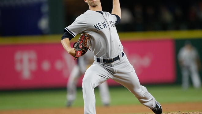 Chasen Shreve, shown here pitching against Seattle on June 1, is one of 25 pitchers to appear on the Yankees' roster this season.