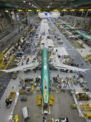 Boeing 737 fuselages on the assembly line in Renton.