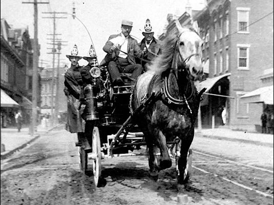 1890s Era Fire Apparatus; Horse-Drawn Hose Carriage (Library of Congress, Prints and Photographs Division)