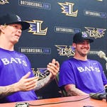 New Bats pitchers John Lamb, left, and Brandon Finnegan were introduced Tuesday.