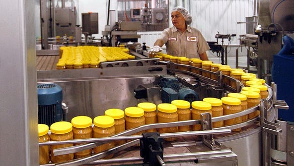 The peanut butter production line at Sunland Inc.'s peanut plant in Portales, N.M., in 2005.