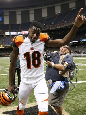 Receiver A.J. Green celebrates the Bengals 27-10 victory over the New Orleans Saints on Nov. 16, 2014.