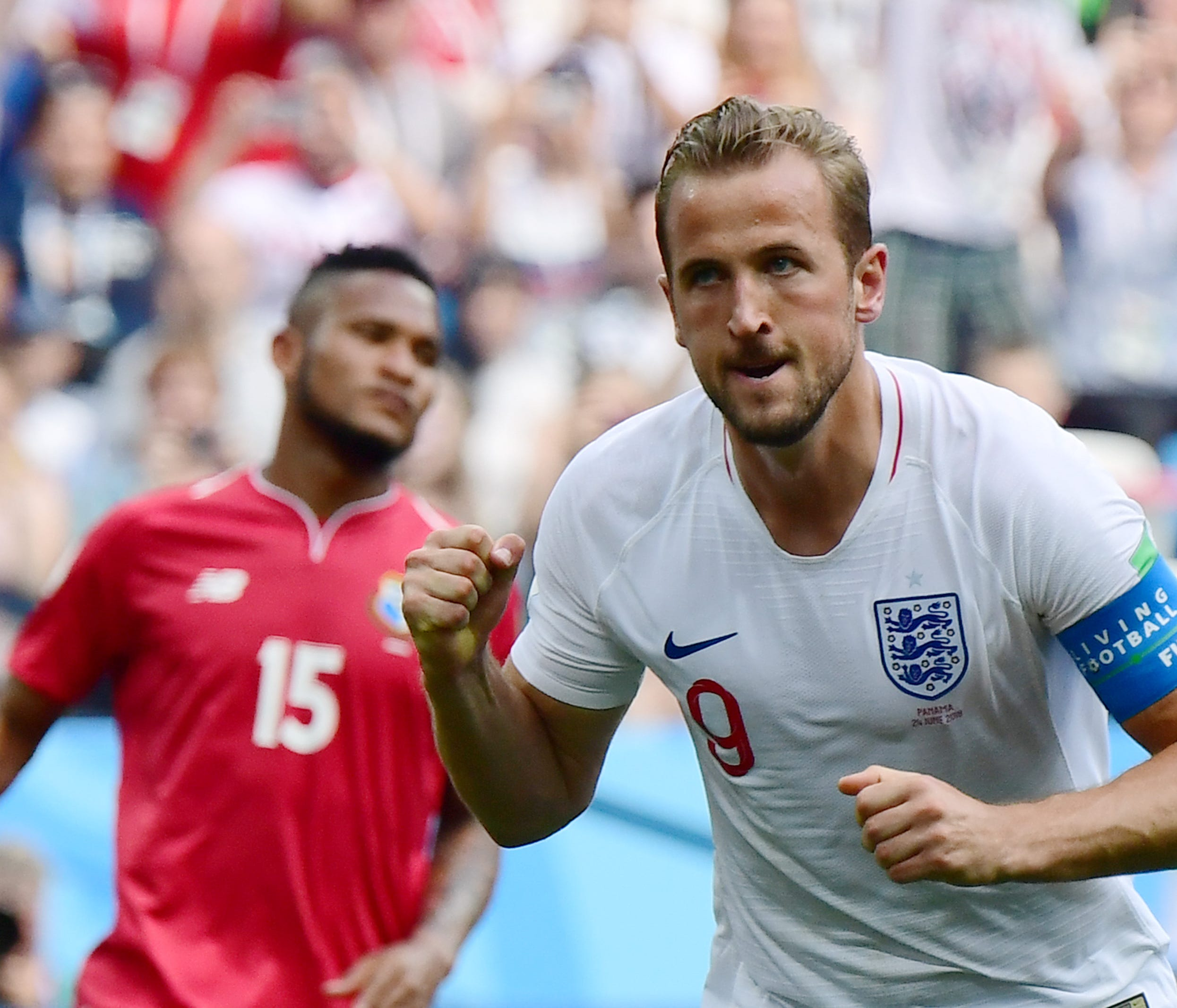 England's forward Harry Kane celebrates after scoring a penalty during the Russia 2018 World Cup Group G football match between England and Panama at the Nizhny Novgorod Stadium in Nizhny Novgorod on June 24, 2018. / AFP PHOTO / Martin BERNETTI / RES