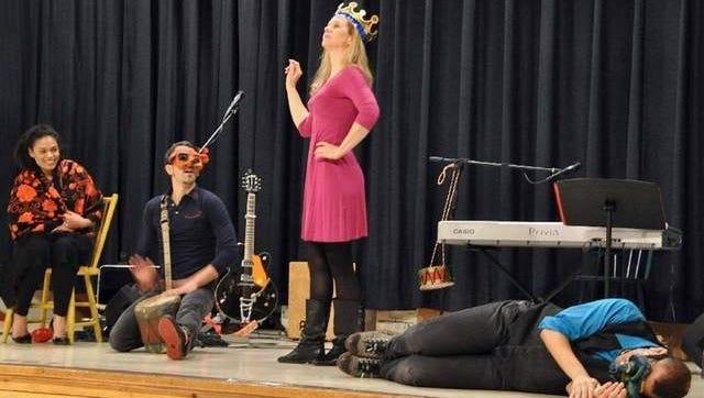 "Dreamcatcher Repertory Theatre cast members (left to right) Allicia Rivas, Chris Kent, Jane Keitel and Michael Aquino performed in ""Mi Casa Tu Casa"" Wednesday afternoon at the Hugh J. Boyd School."