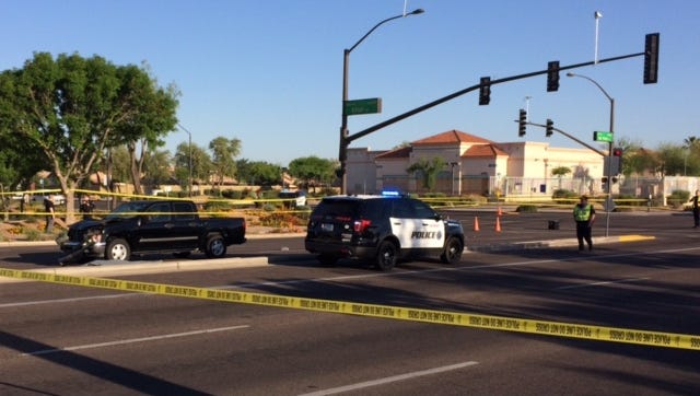 Police say this truck hit two pedestrians, killing one of them, near Val Vista Drive and Elliot Road in Gilbert on April 20, 2017.