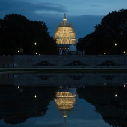 Evening arrives at the Capitol building in Washington, D.C.