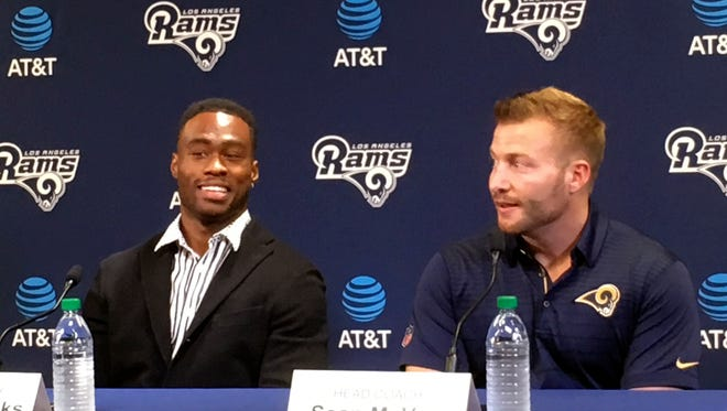 Brandin Cooks, left, and head coach Sean McVay answer questions during a news conference introducing the Rams' new receiver at Thousand Oaks.