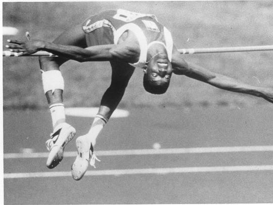 Hollis Conway won indoor and outdoor national high jump championships for the University of Southwestern Louisiana.