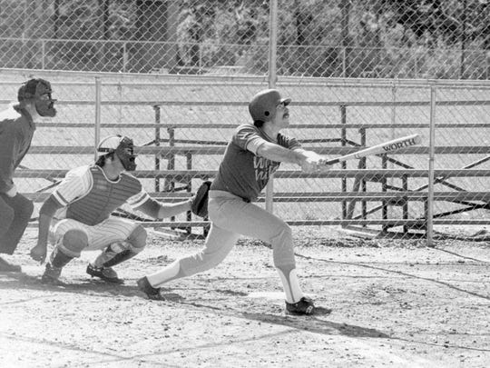 Jim Foster follows through on a swing while batting for the Warren Wilson Owls in 1978.