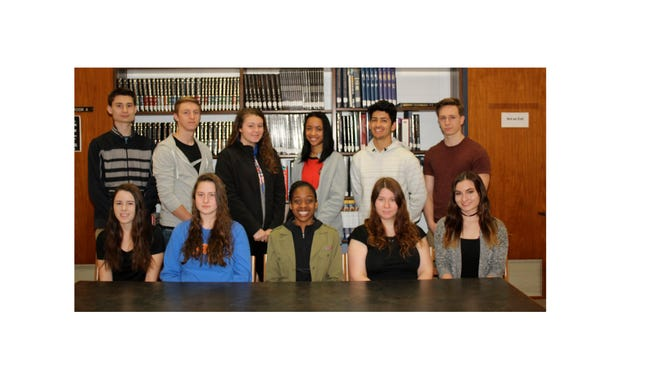 Millville High School's Students of the Month for February are: (back row, from left) Patrick Michaud, physical education, Hunter Sibley, industrial technology, Mckenna McFarland, health, Kyla Kemp, world language, Vincent Felice, social studies, Joseph Sutton, music; and (front row, from left) Kayla Korman, mathematics, Angela Williams, science, Serena Townsend, art, Allison Perry, business technology, and Anastasia Citsay, English.
