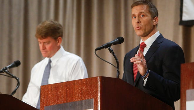Eric Greitens speaks during the Missouri Press Association Candidate Forum on Friday, September 30, 2016 at the Chateau on the Lake Resort in Branson.
