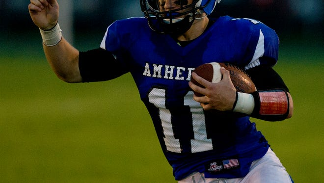 Amherst's Dalton Nemzoff during the Central Wisconsin Conference football game at Amherst High School, Friday, Sept. 4, 2015.