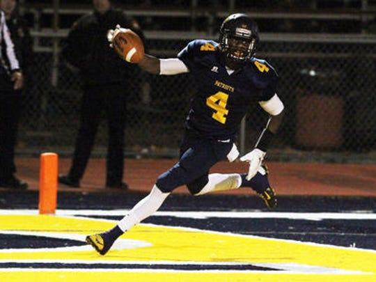 Colonia's Bryce Barneys scored a touchdown as the Patriots defeated J.F. Kennedy on Friday night.