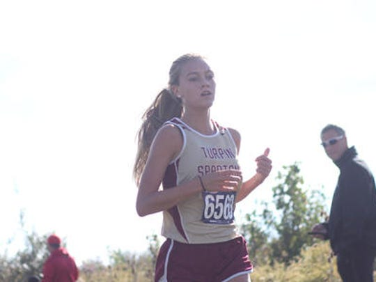 Turpin's Samantha Bush won the Div. I District B cross country race, Saturday, at VOA Park.