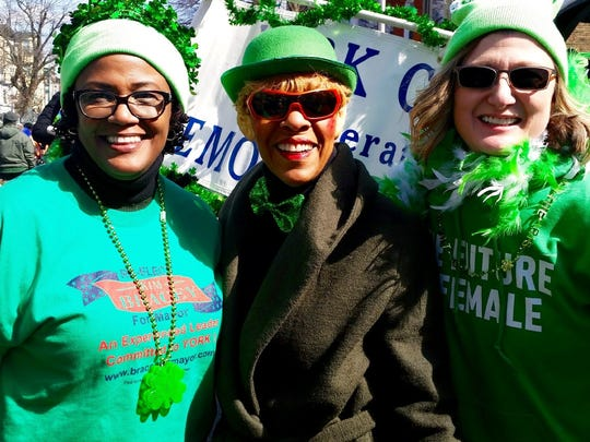 York City Mayor Kim Bracey, left, representative Carol Hill-Evans and Deborah Kalina at the 2017 St. Patrick's Day parade in York City. submitted