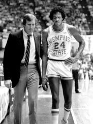 Memphis State head coach Dana Kirk (left) and All-American