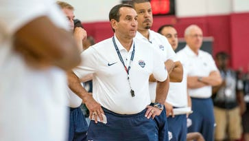 USA head coach Mike Krzyzewski looks on during a practice at Mendenhall Center.