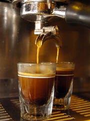 Shots of espresso at CC's Coffee House are pictured