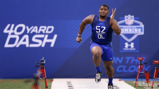 Laken Tomlinson, who would be the Lions' top draft pick in 2015, runs the 40-yard dash at the NFL combine.