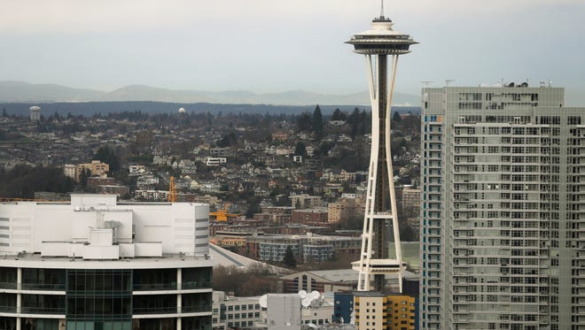 A view of the Space Needle in downtown Seattle.