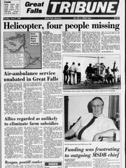 """Helicopter, four people missing"" reads a Great Falls"