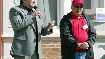 Thad Welch, right, is seen with former Superintendent Pat Cooper.