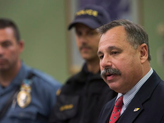 Barnegat Mayor John Novak gives an update on the situation in Barnegat as they police continue to search the area for escaped  prisoner John Buckel.