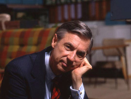 "Fred Rogers seen on the set of ""Mister Rogers' Neighborhood"""