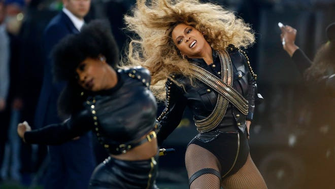 Beyonce performs during halftime of the NFL Super Bowl 50 football game in Santa Clara.