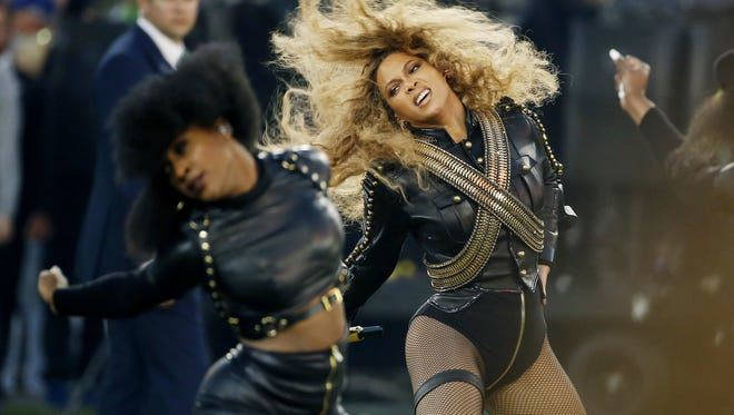 Beyonce at this year's NFL Super Bowl 50 halftime performance. A recent report by New York Attorney General Eric Schneiderman found that one broker was able to  illegally purchased 520 tickets to Beyonce's 2013 performance at Barclay's Center within three minutes by using 'bots' to buy them up.