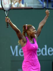 Serena Williams, from Palm Beach Gardens, Fla.  reacts