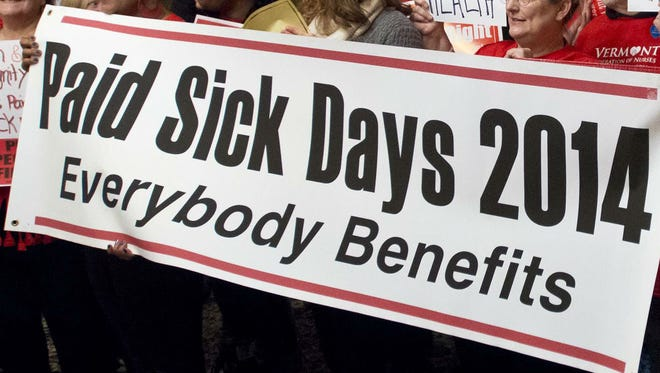 Vermont Workers' Center rallied to advocate for universal paid sick days on the opening day of the Legislature at the Statehouse in Montpelier in January 2014.