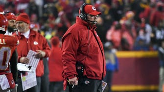 Kansas City Chiefs head coach Andy Reid looks on during the fourth quarter against the Pittsburgh Steelers in the AFC Divisional playoff game at Arrowhead Stadium.