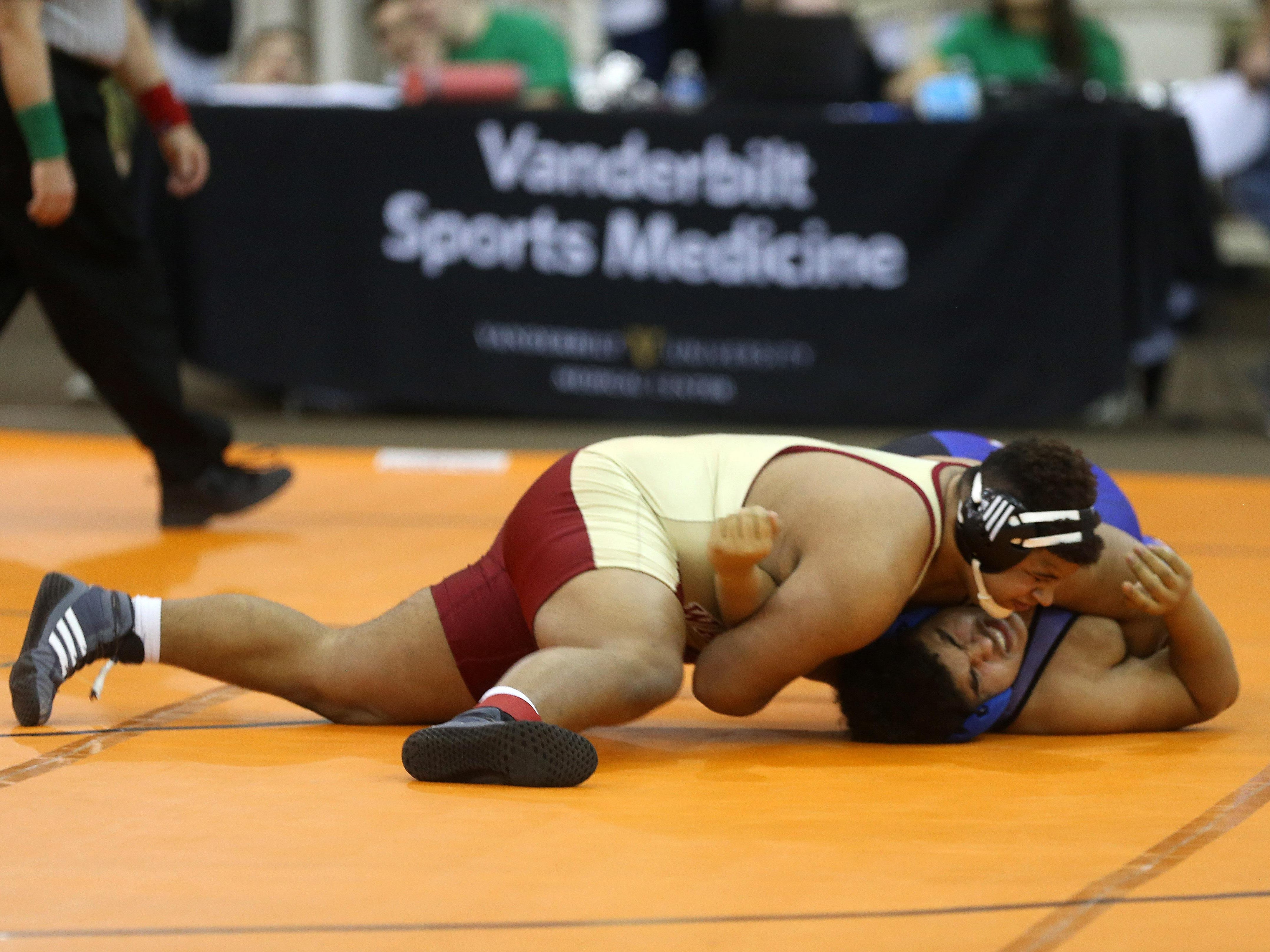 Riverdale junior Nick Boykin pinned Hunters Lane's Patrick Guider in nine seconds in his first-round match on Thursday in the TSSAA Class AAA individual state championships.