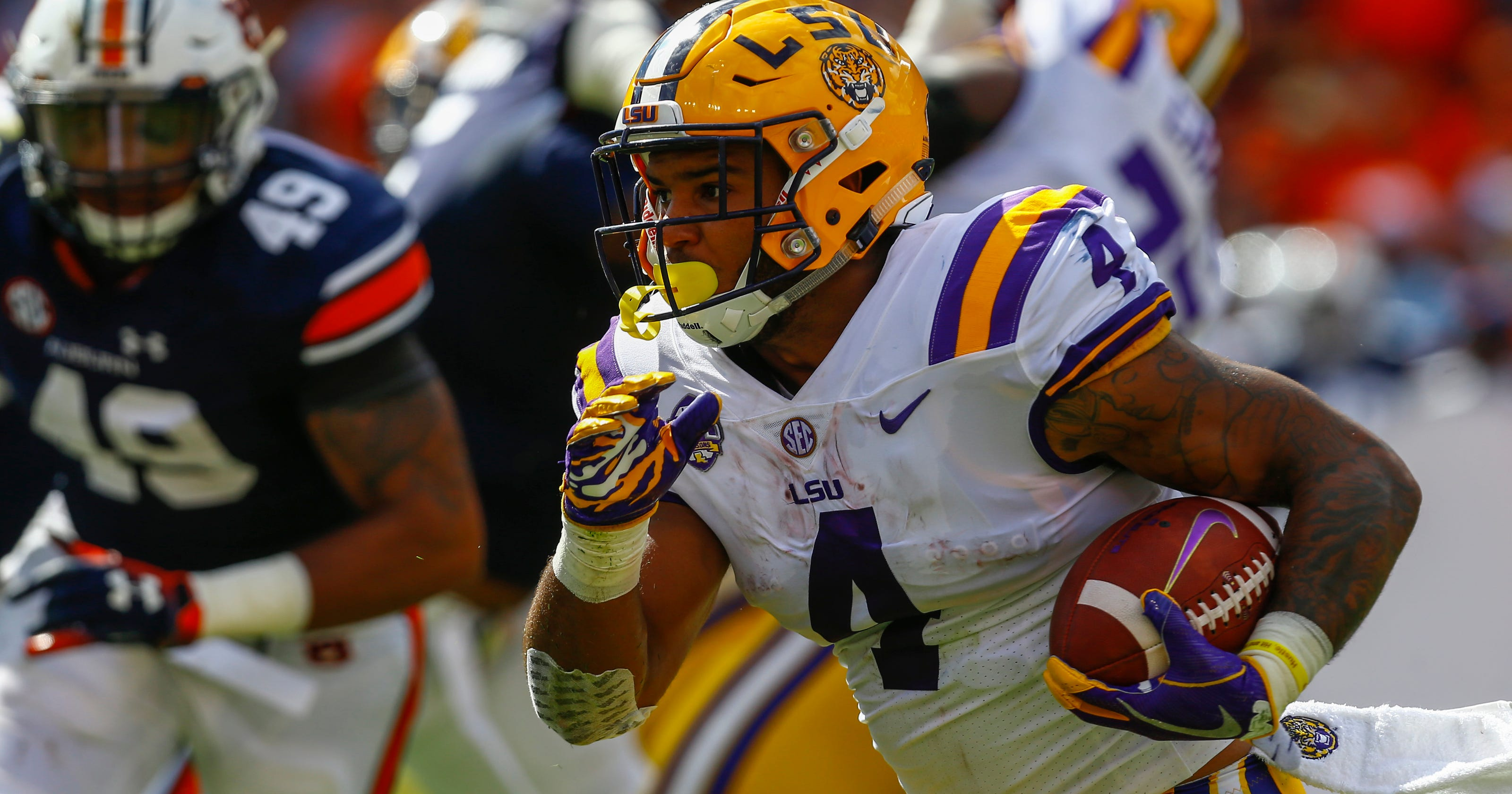 Red Stick Rotation  LSU s Nick Brossette and Clyde Edwards-Helaire form  all-BR backfield a9c50d614