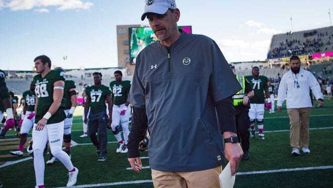 CSU coach Mike Bobo after the Rams lost 45-28 to Air Force on Saturday. The Rams are 2-6 in rivalry games under the third-year coach.