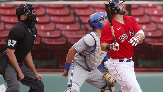 Mitch Moreland watches his walkoff homer on Sunday.