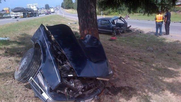 A car was split in half when it struck a tree in Mount Vernon.